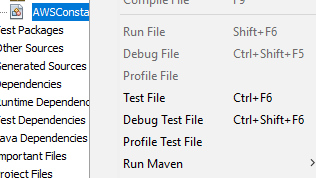 Netbeans IDE Node Actions